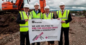 Image: L to R: John Wood, Executive Director Riverside, Simon Phillips, Regional Managing Director, Esh Border Construction, David Robinson Project Manager Riverside and John Stevenson, MP mark start on site of new Homes for Britain