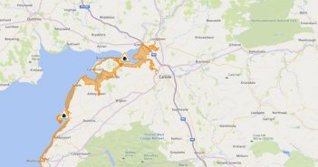 Map or Carlisle area with flood warning pins