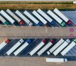 Aerial shot of parked haulage lorries