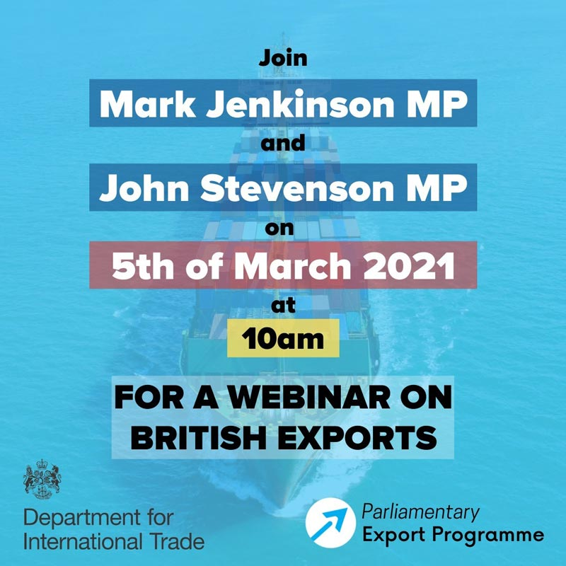 Boat with text over reading 'Webinar on British Exports'