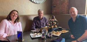 John and Chairman of Cumbria Tourism, Jim Walker, at restaurant during the 'Eat out to Help out' scheme
